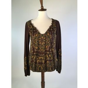 Lucky Brand Womens Blouse Top Large Brown C52-03Z